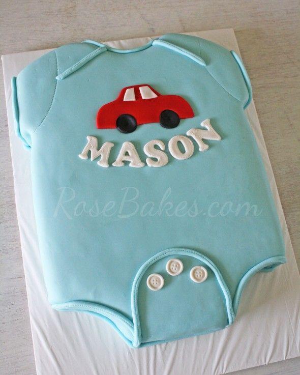 Baby Onesie Baby Shower Cake - Rose Bakes