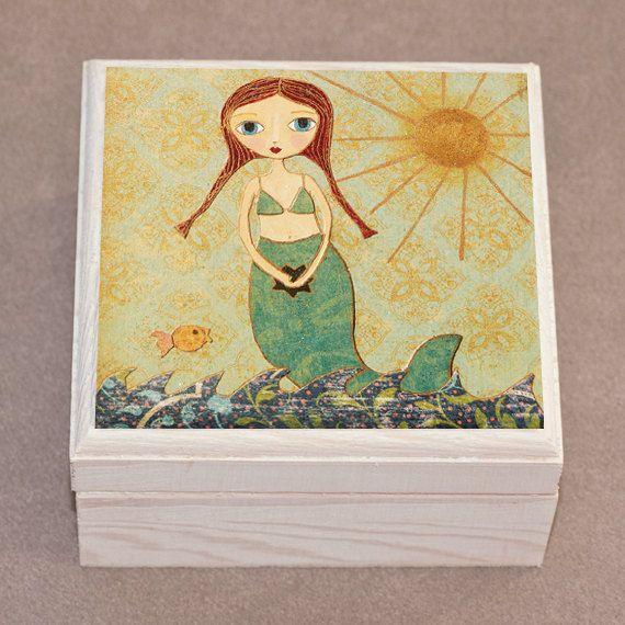 Mermaid Jewelry Box  Cute Mermaid Gift  Little Mermaid by Sascalia