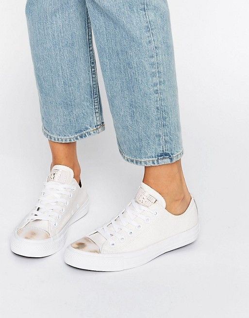 Converse | Converse Chuck Taylor Trainers In White With Metallic Toe Cap