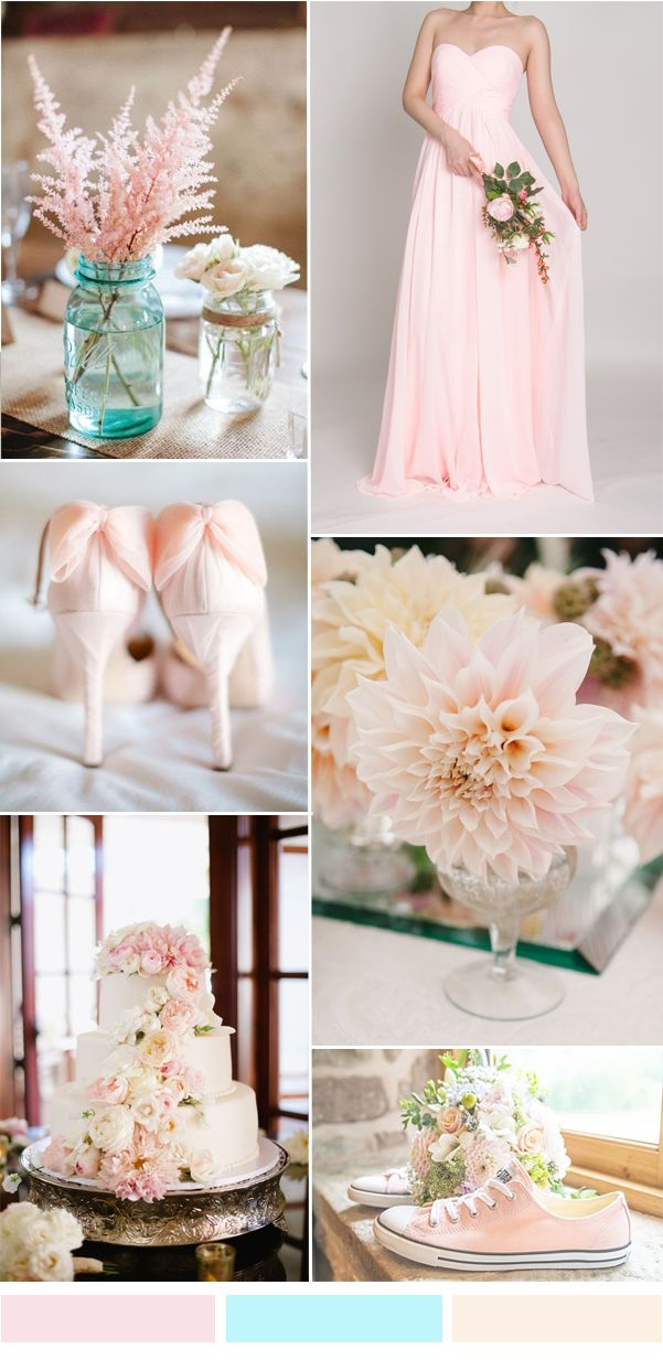 pale pink wedding color ideas and sweetheart chiffon long bridesmaid dress 2015