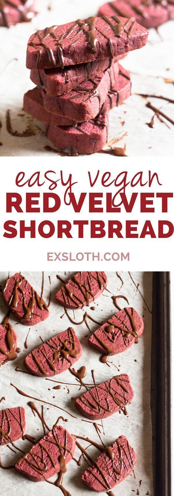 Easy red velvet vegan shortbread cookies (made with coconut oil, not butter). Perfect as a healthy alternative to Christmas cookies or traditional Valentine's Day treats via http://ExSloth.com
