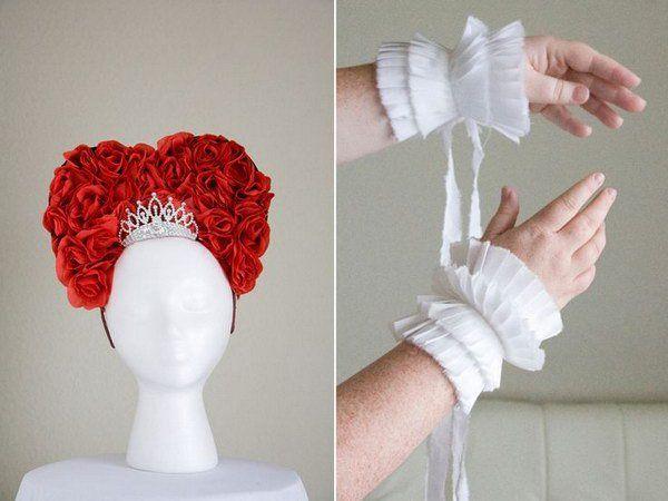 DIY Queen of Hearts or Queen Elizabeth Headpiece and Pleated Cuffs
