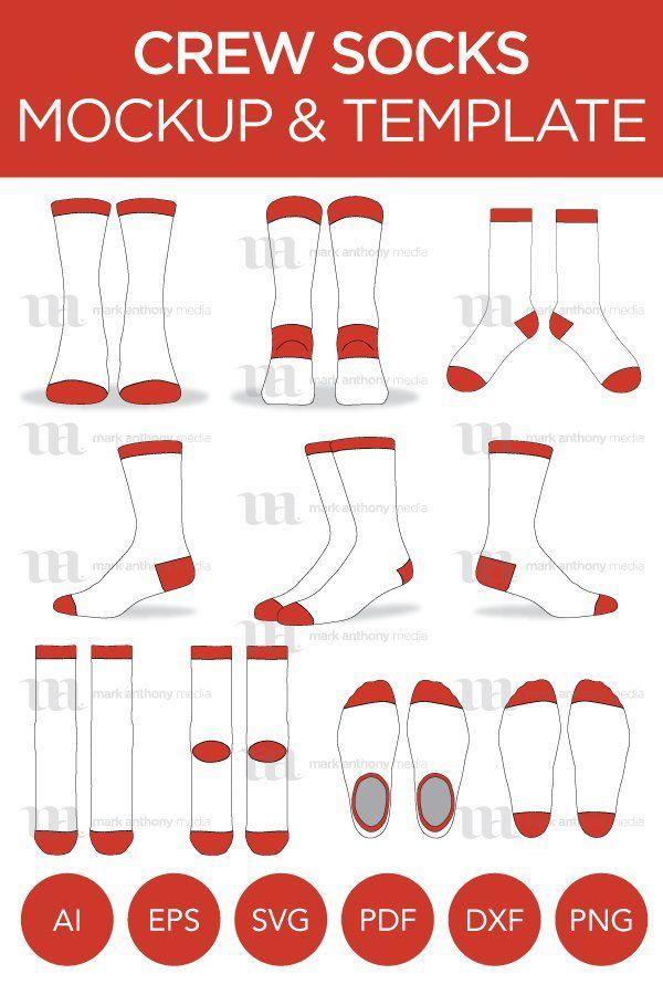 Download Crew Socks Vector Template Mockup 988105 Clothing Design Bundles Design Bundles Clothing Mockup Template Design