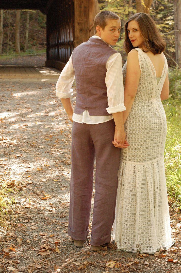 adorable!Grey Wedding, Butch Wedding Outfit, Art Adorable, Lesbian Wedding Dresses Casual, Lesbian Wedding Suits, Woman Clothing, Lesbian Wedding Outfit, The Dresses, Wedding Outfits