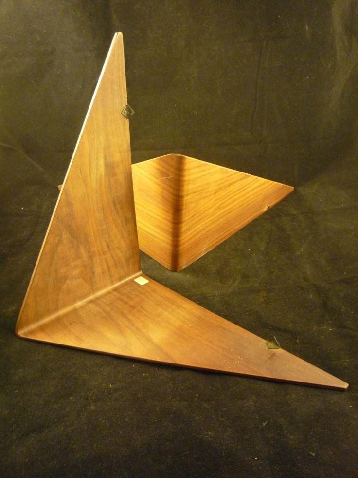 "Mar.31.2016 Pair of Mid-Century Danish Triangular Floating Shelves. 12""x12"" x7"""