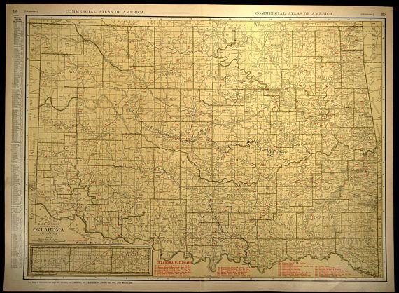 Oklahoma Map Oklahoma EXTRA LARGE Map Railroad Wall Art   Map Wall ...