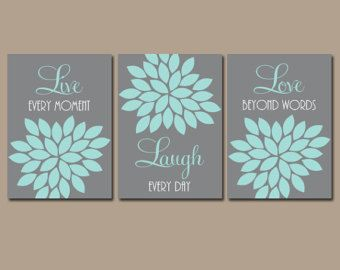 Live Laugh Love Coral Wall Art Coral Nursery Decor by TRMdesign