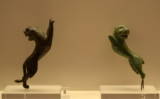 Bronze figurines of lions, probably from utensils. Ca. 550-500 BCE. From the Sanctuary of Zeus, Ancient Olympia.  New Museum, Ancient Olympia.