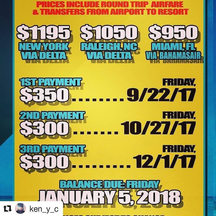 #Repost @ken_y_c  'RUM IN THE SUN' 2018 winter weekend getaway TO SUNNY NASSAU Bahamas  All Inclusive Resort Pricing and Payment... All Inclusive means ALL INCLUSIVE  ALL FOOD ALL DRINKS ALL EVENTS INCLUDING ADMISSION TO THE 3 DAY RUM FESTIVAL  AFFORDABLE pricing based on double occupancy $1195 pp from NYC via Delta $1050 pp from Raleigh NC via Delta $950 pp from Miami FL via Bahamas air.  DM me to make your deposit today!!! Photo Video Footage by yours truly!!!! 50% OFF PHOTOSHOOT BOOKING…