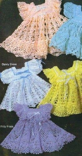 Modelos con patrones de diferentes vestidos para niñas.