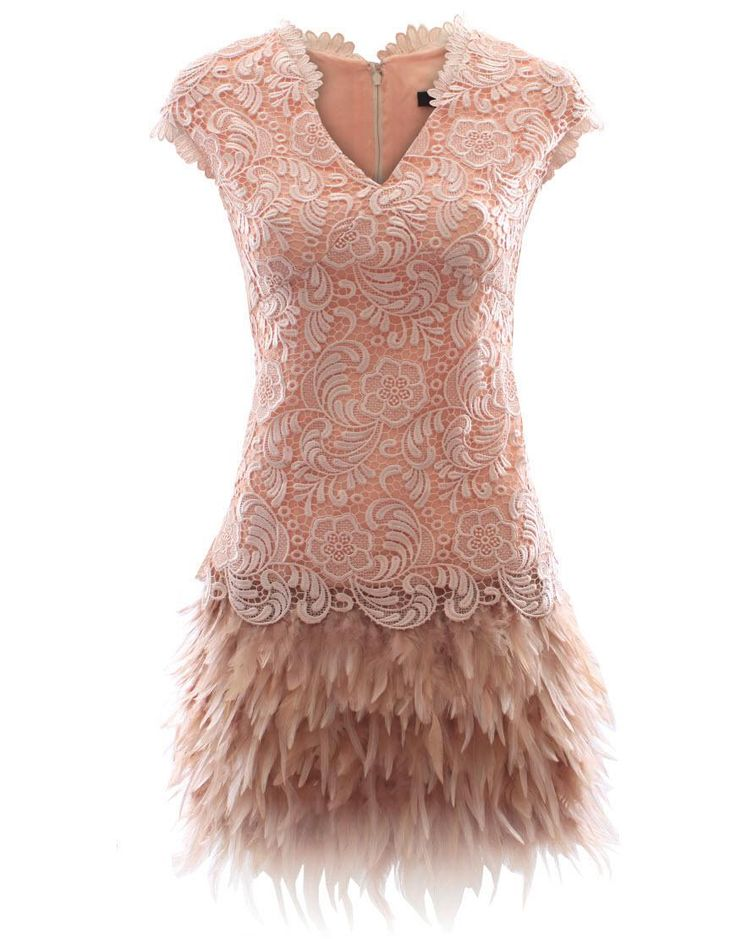 Beige lace feather dress style Matthew Williamson Style Bille
