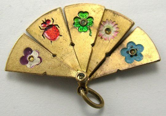 Edwardian Brass and Enamel Opening Lucky Fan Charm.