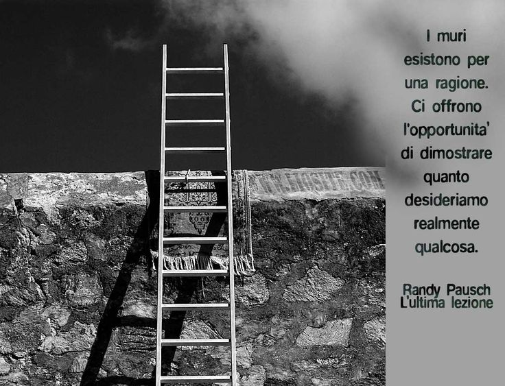 380.I muri esistono per una ragione. Ci offrono l'opportunità di dimostrare quanto desideriamo realmente qualcosa. Randy Pausch – L'ultima lezione
