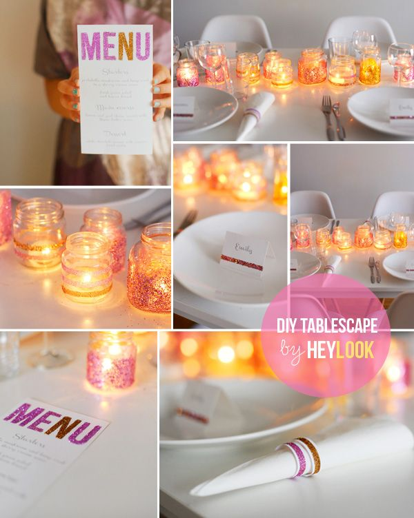 For a glitter girl party: Baby Food, Craft, Wedding, Dinner Party, Diy, Tablescape, Party Ideas