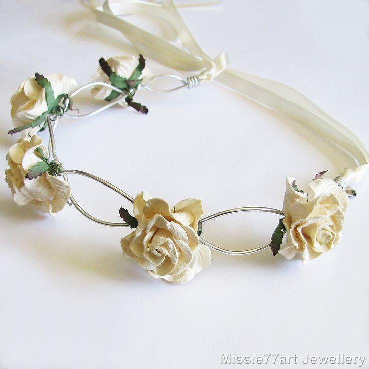 Rosa Cream Rose Flower Crown Bridal Headpiece