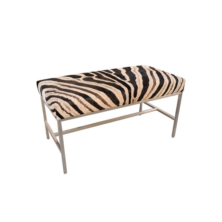 African Zebra Skin Ottoman With Polished Chrome Legs