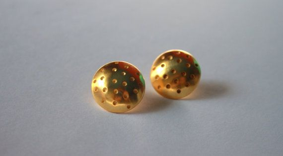 Polka dots earrings / gold plated by Mesdames on Etsy