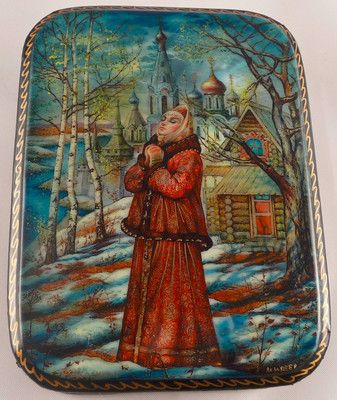 "Russian Fedoskino Lacquer Box ""Maiden's Prayer"" Signed 