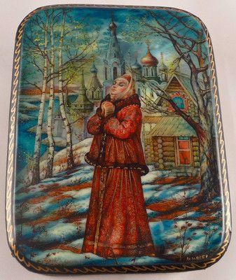 "Russian Fedoskino Lacquer Box ""Maiden's Prayer"" Signed | eBay"