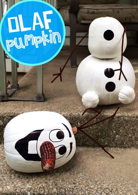 No Carve Frozen Olaf Pumpkin Decorating Idea for Halloween (Kid favorite) - Crafty Morning