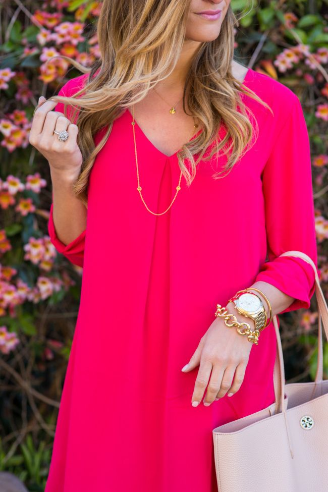 Pink Dress + Delicate Gold Layered Necklaces + Tory Burch Perry Tote + Baby Pink Lipstick