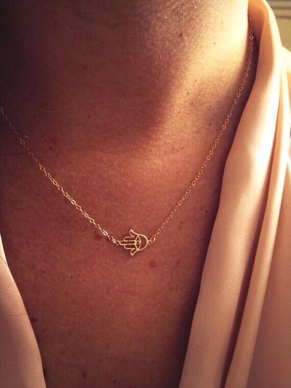 14k Gold Hamsa Necklace by TheArtsyNomad on Etsy, $24.00