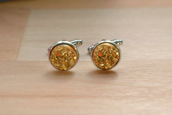 Gold Druzy Cuff Links  Cuff Links For Groom  by SkadiJewelry