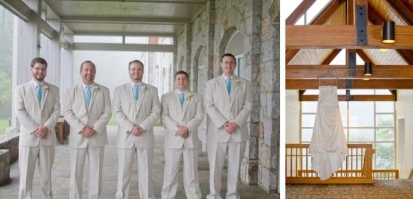 tan groomsmen's suit and turquoise tie