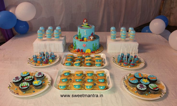 Homemade Eggless 3D customized, personalized, handcrafted, designer, fondant Sea/Mermaid/Underwater theme 1st birthday dessert/sugar table for girl at Aundh, Pune