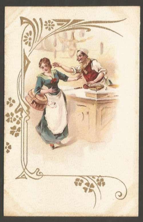 Art ? Noveau Litho Cromo Romantic Woman & Seller Postcard L@@K