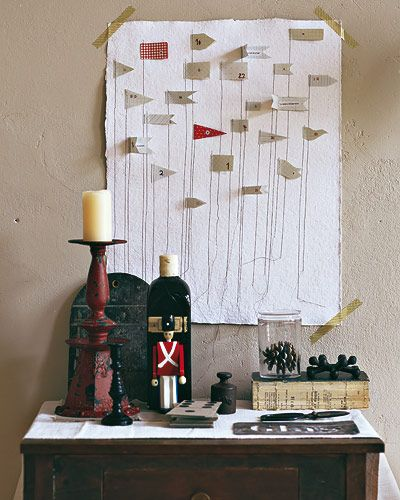 advent calendar with paper flagsFlags Fly, Advent Calender, Fun Vignettes, For The, Boy Rooms, Advent Calendar, The Love, Boys Room, Jenny Hus