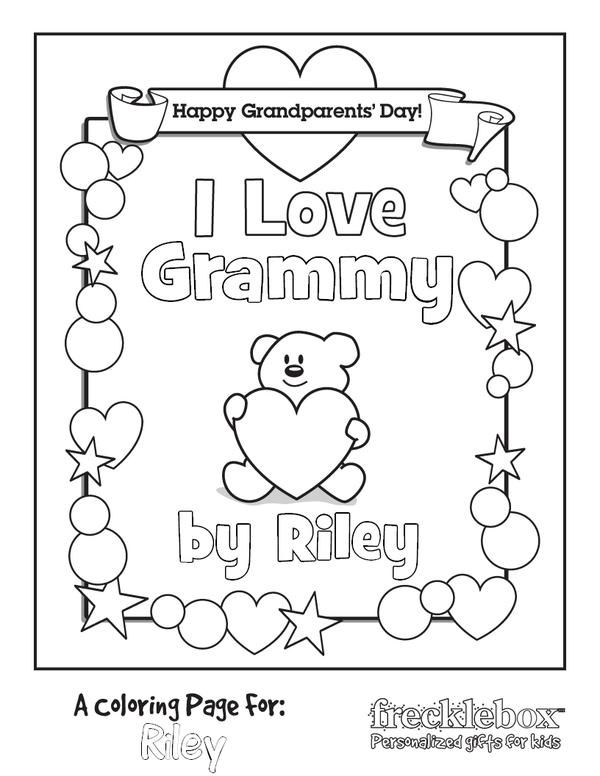 Personalized I Love Grammy Coloring Page Frecklebox Personalized  Coloring Book, Coloring Pages, Free Coloring Pages