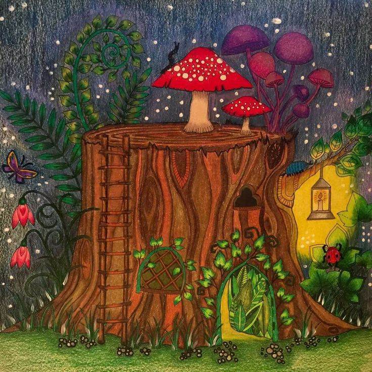 Enchanted Forest Tronco Floresta Encantada Johanna Basford