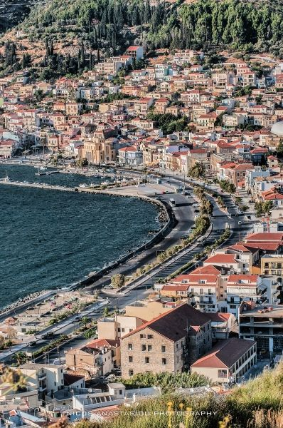 Port road of Vathy, Samos, Greece