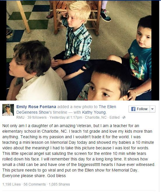 First Grader Moved To Tears By Memorial Day Video