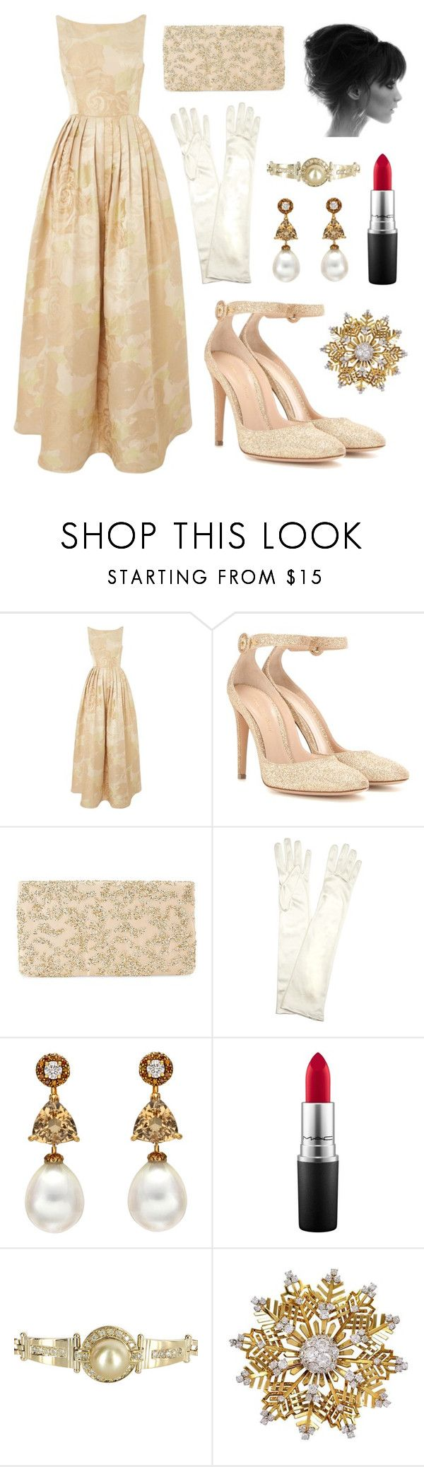 """""""Audrey Hepburn"""" by theprissydiary ❤ liked on Polyvore featuring Adrianna Papell, Ray-Ban, Gianvito Rossi, John Lewis, MAC Cosmetics, Vintage and Van Cleef & Arpels"""