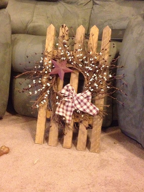 Hey, I found this really awesome Etsy listing at https://www.etsy.com/listing/175805871/primitive-wood-picket-fence-with-berry