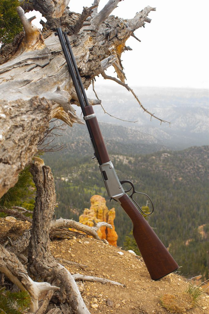 Lever action rifle. Henry lever action rifle the frontier octagonal in silver. Great cowboy gun. Modeled after the Winchester lever action 1894. Cedar Breaks National Park