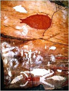 Aboriginal cave art, York Peninsula, Northern Queensland. Whose hands are outlined here, left on this wall 40,000 years go?