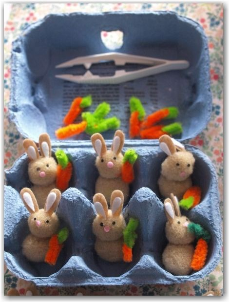Easter Rabbit Game - A cute easter craft for kids. This would be a lovely play set to give at Easter. Also practices math and fine motor skills.