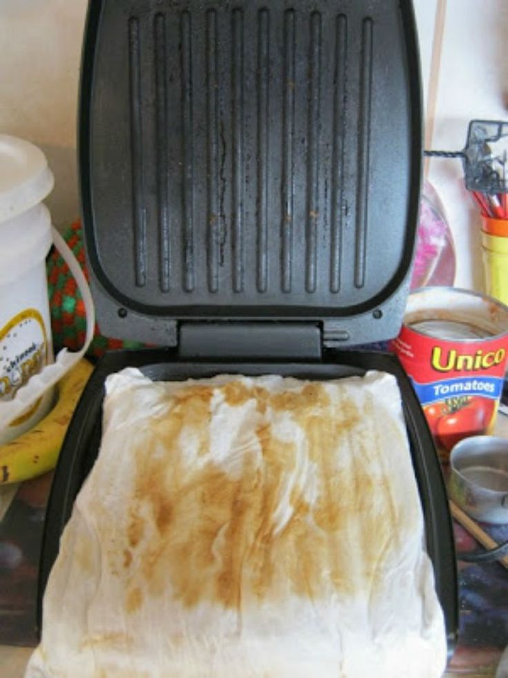 George foreman Grill -- Once you are finished using the grill, unplug it, and immediately get 3 or 4 squares of paper towel, layered on top of each other. Wet them, ring them out, and unfold them back out so they are back into their square shape. Then simply set them on the grill and close it. Enjoy your food while the grill cools. Then simply open the grill (don't wait too long, an hour or so is fine), and use the paper towels to easily wipe off the grime. It does a surprisingly amazing…