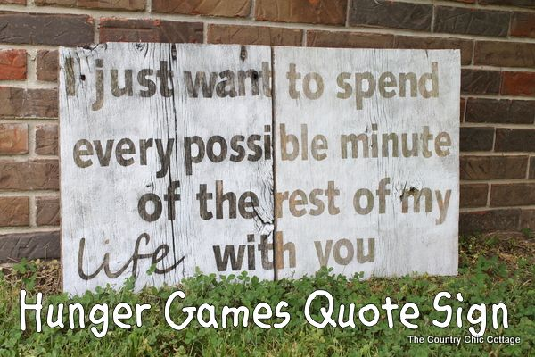 Hunger Games Love Quote Sign in Barnwood - * THE COUNTRY CHIC COTTAGE (DIY, Home Decor, Crafts, Farmhouse)