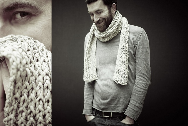 Knitting | Flickr - My man wearing scarf made with phil gouache by Phildar
