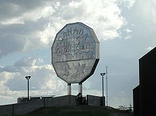 The Big Nickel, one of Sudbury's most famous landmarks. It is a 30 foot replica of a 1951 Canadian nickel.