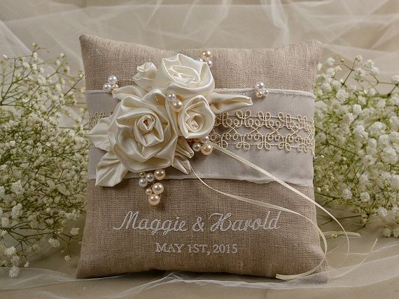 Natural Linen Wedding Pillow  Ring Bearer Pillow by DecorisWedding, $40.00