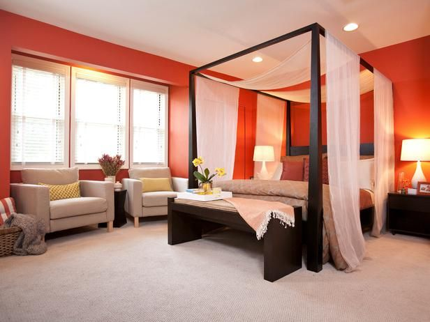 Vibrant Personality - Bold Bedrooms on HGTV love this bedroom.  Love the orange!