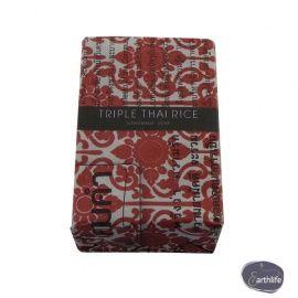 Fairtrade zeep met bordeaux rode blokprint, geur Thaise rijsten