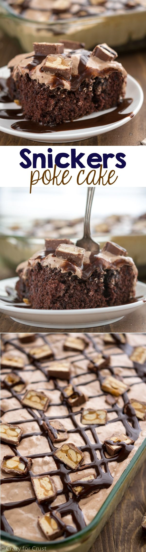 Snickers Poke Cake filled with caramel and peanuts and topped with a nougat frosting!