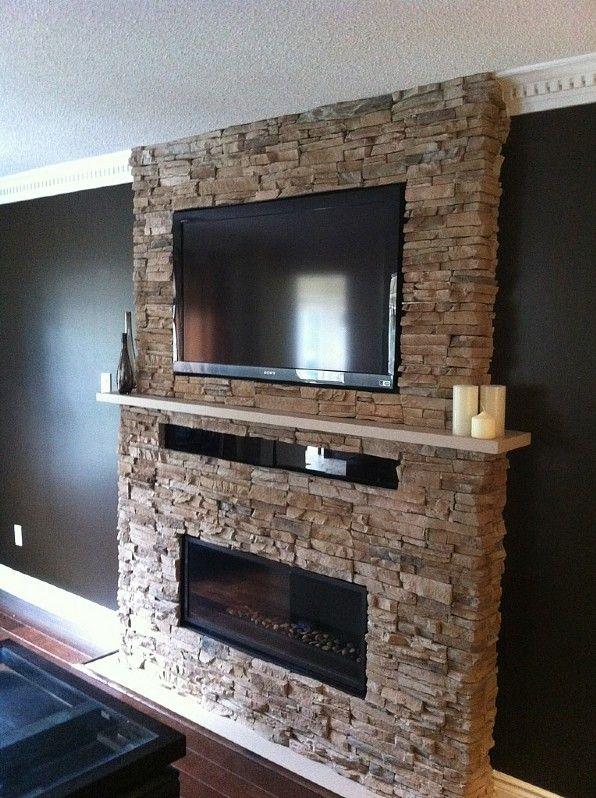 Stacked Stone Fireplace With Mantel And Tv