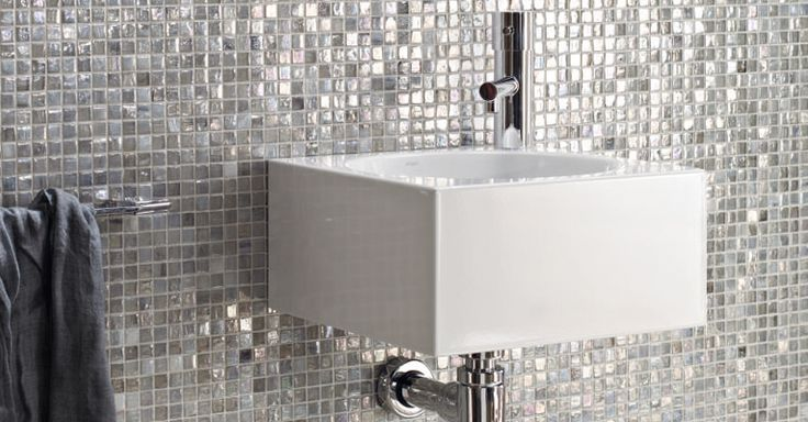 Mosaic Patterns For Bathrooms: Love The Iridescent Tiles And Elegant Sink. Would Suit The